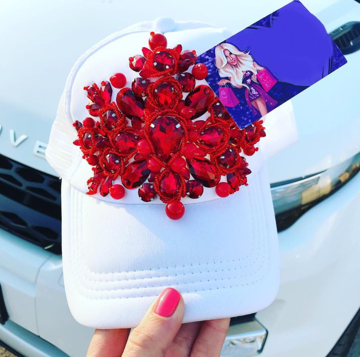 White and Red embellished luxury snap back