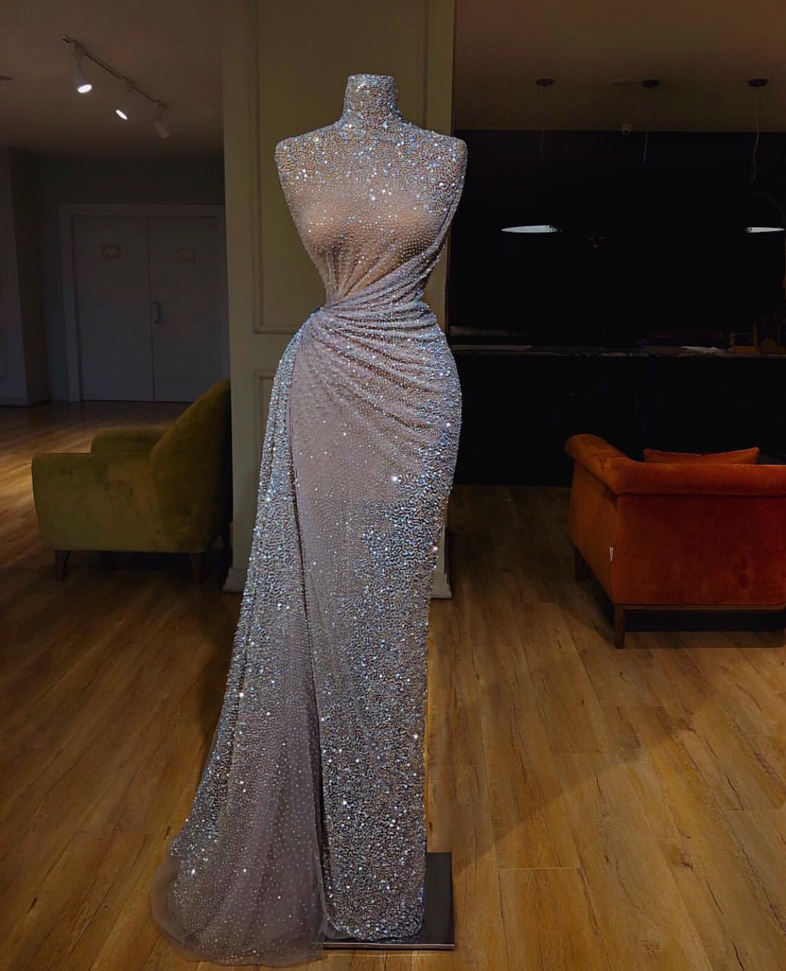 Super luxurious beaded evening dress