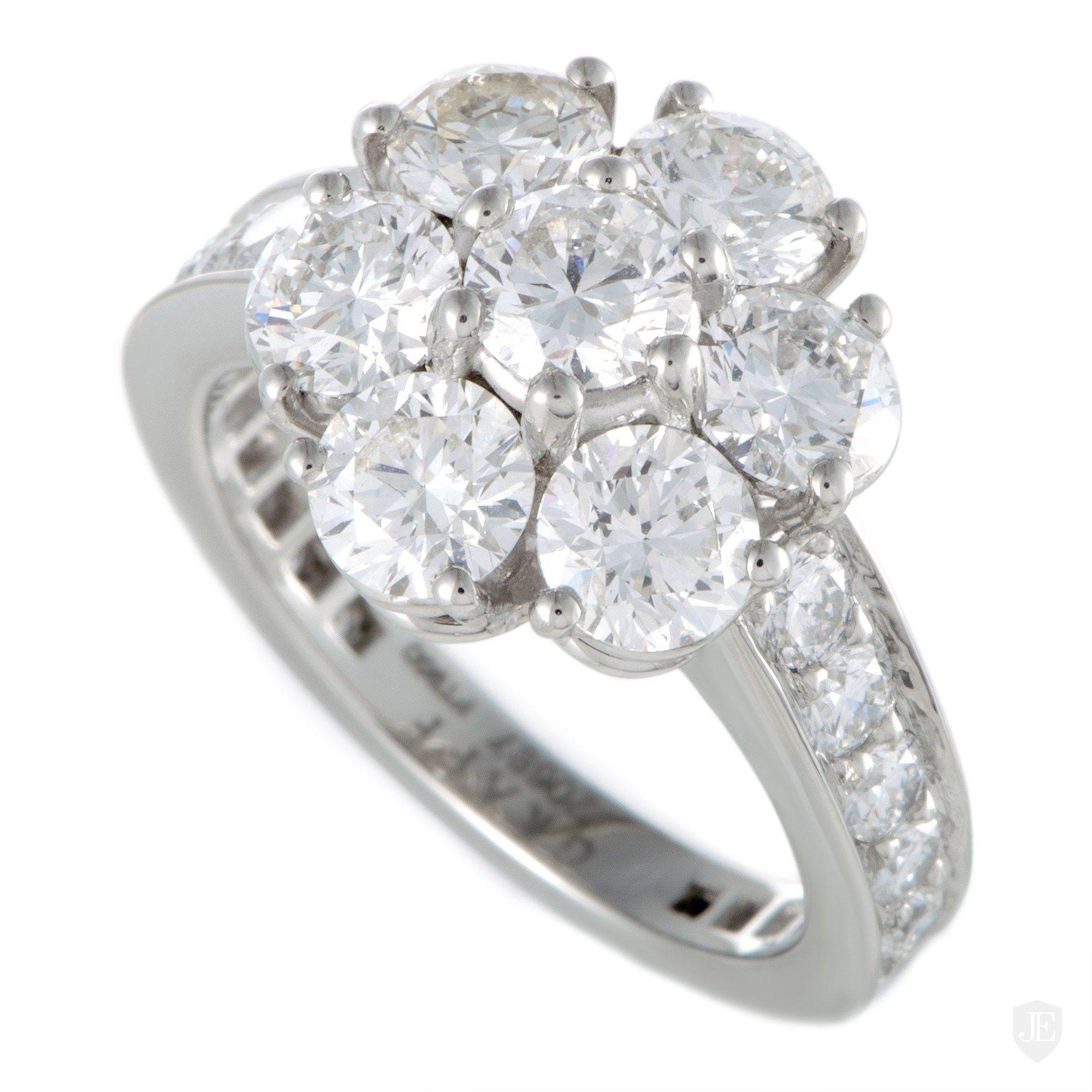 Graff Platinum Diamond Flower Ring