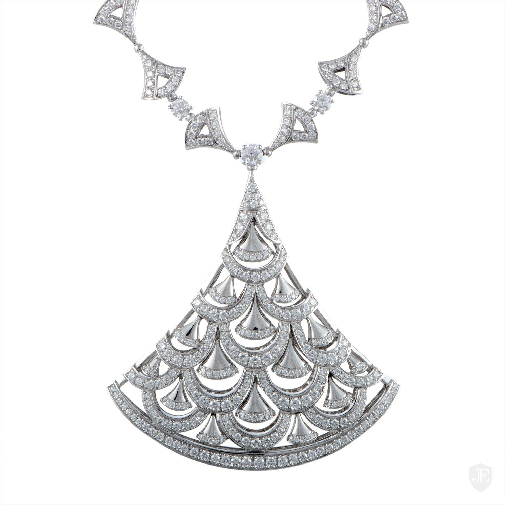 Bvlgari Diva's Dream 18K White Gold Diamond Pave Large Pendant Necklace