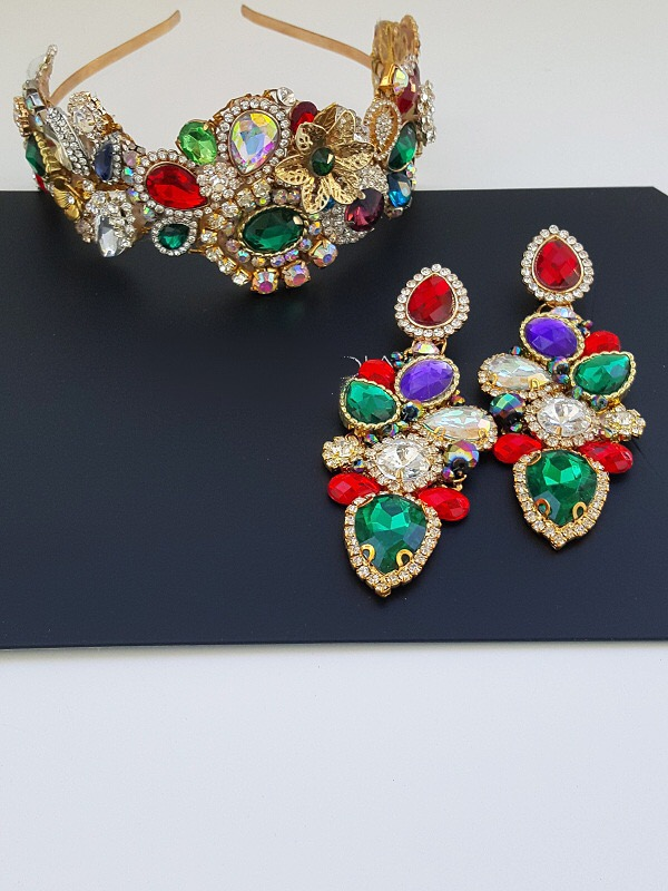 Rainbow royal crown and earring set