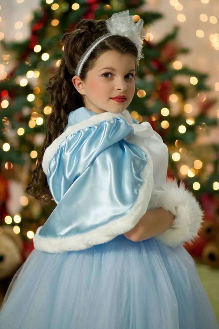 Girls Hooded caplet dress with fur trim