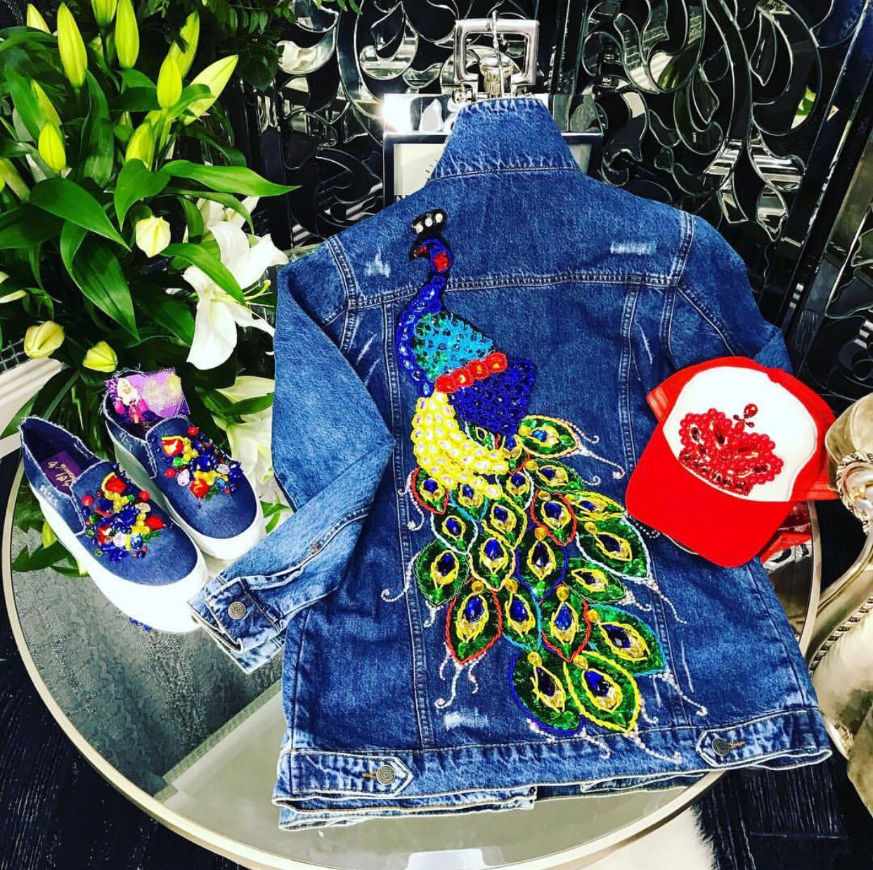 Embroidered embellished peacock denim jacket and accessories