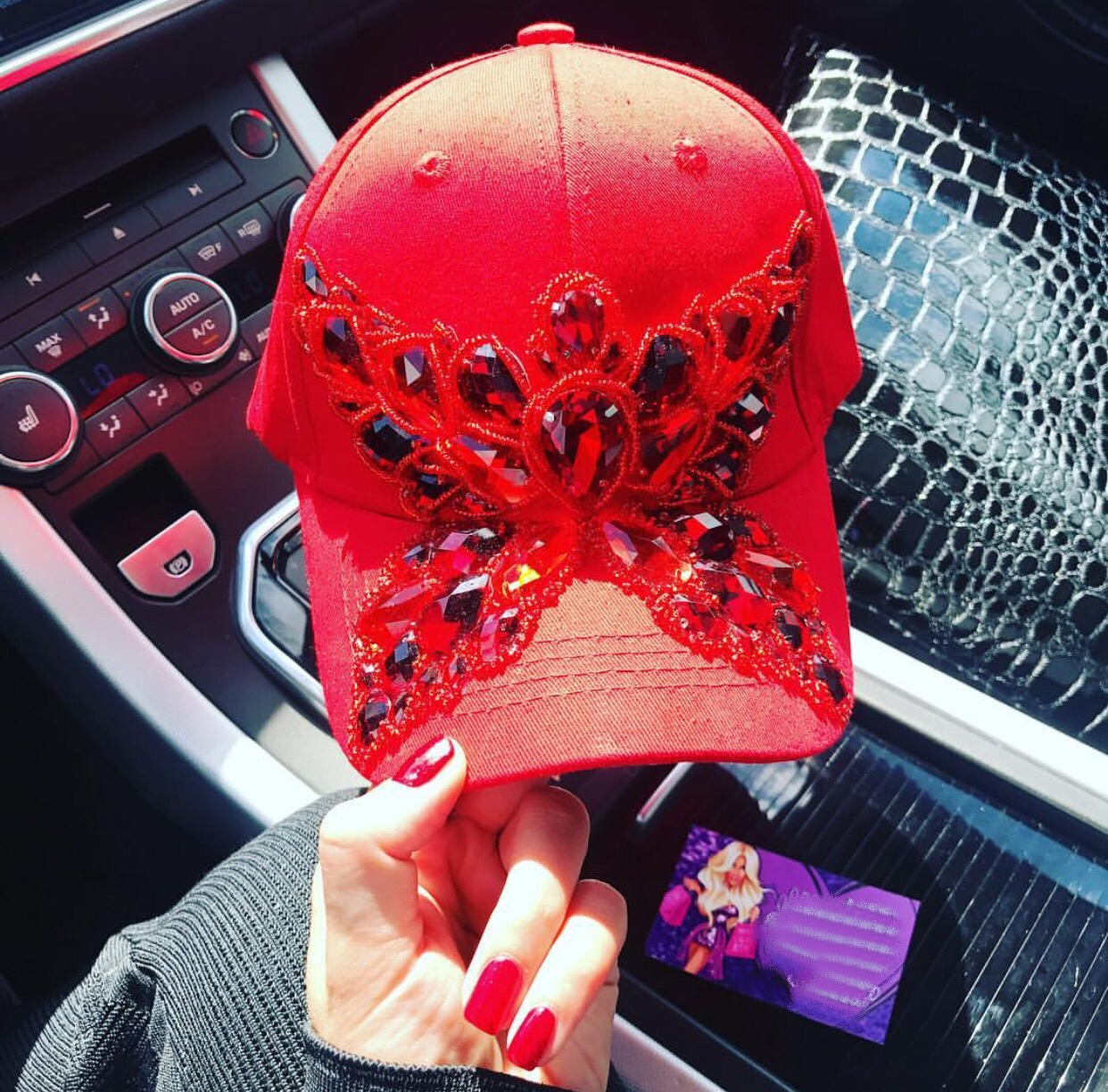 Red luxury embellished snapback