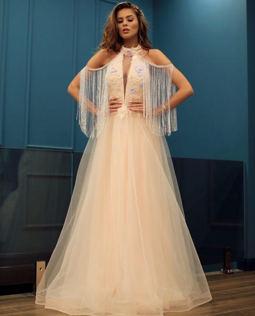 Peach embellished evening dress