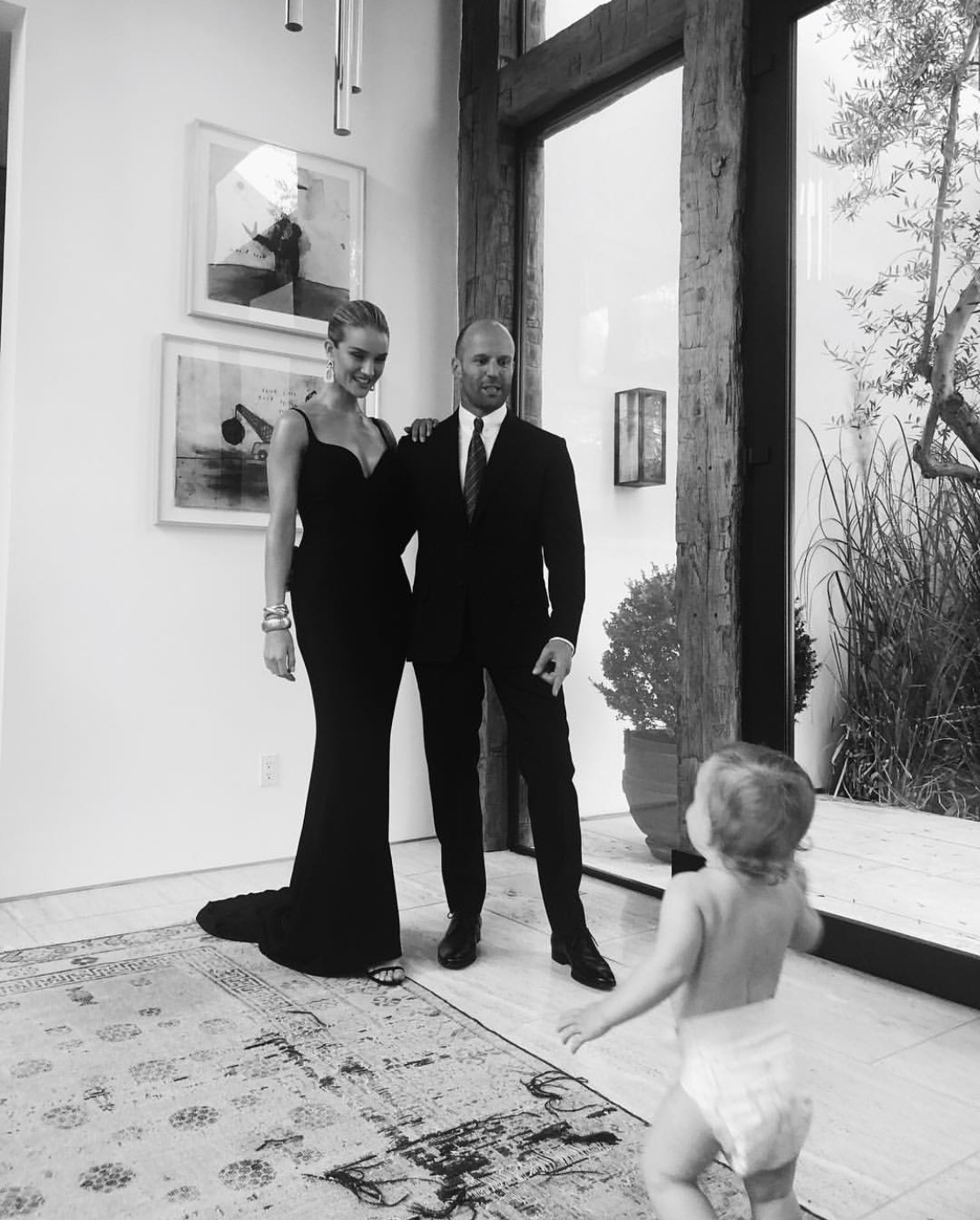 Rosie Huntington-Whiteley gave the sweetest glimpse of her baby son as she and Jason Statham get red carpet ready