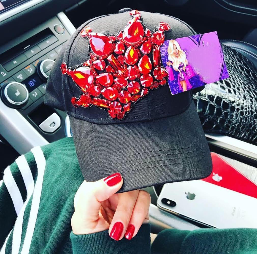 Red and black embellished snapback