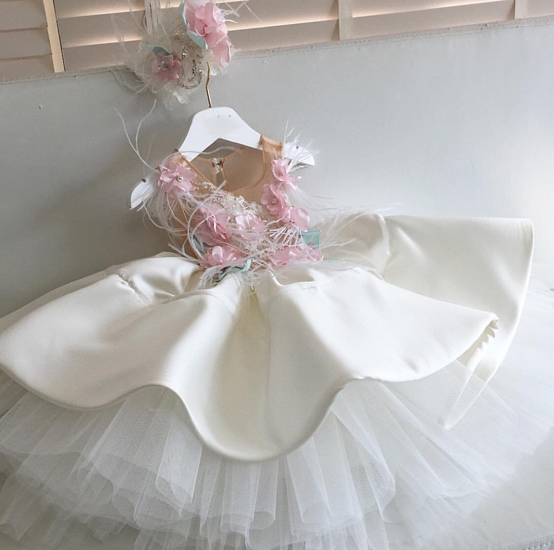 Luxury pastel flower kids couture dress