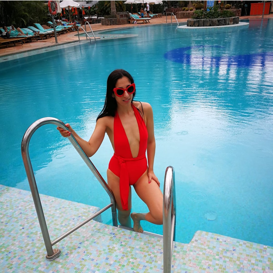 All red resort fashion look