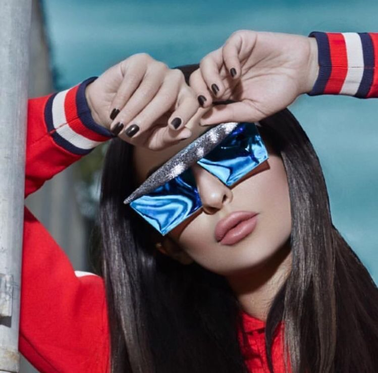 Blue edgy couture sunglasses