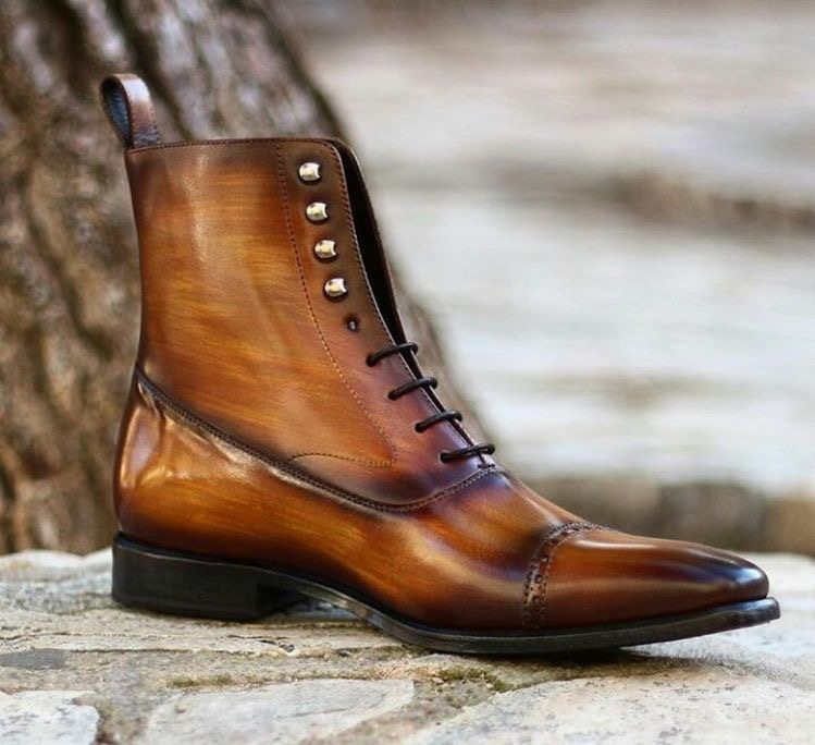 Handmade burnished balmoral cognac crust patina boots