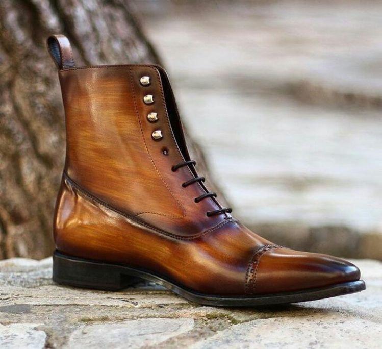 Handmade burnished balmoral cognac crust patina boots