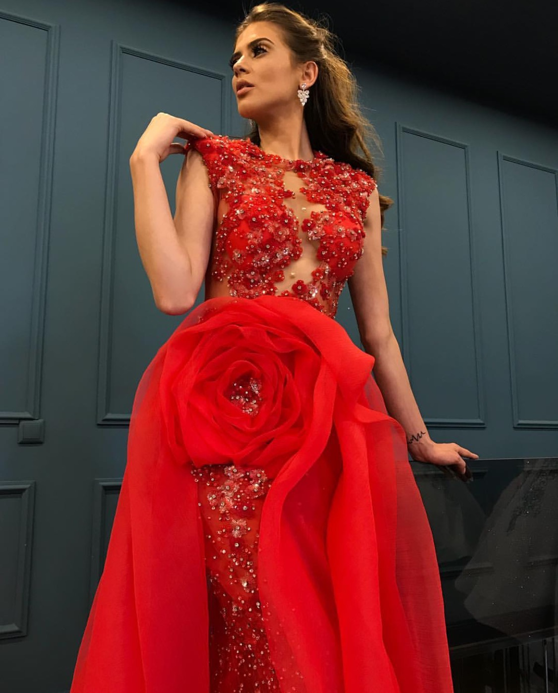 Ultra bling red evening rosette dress