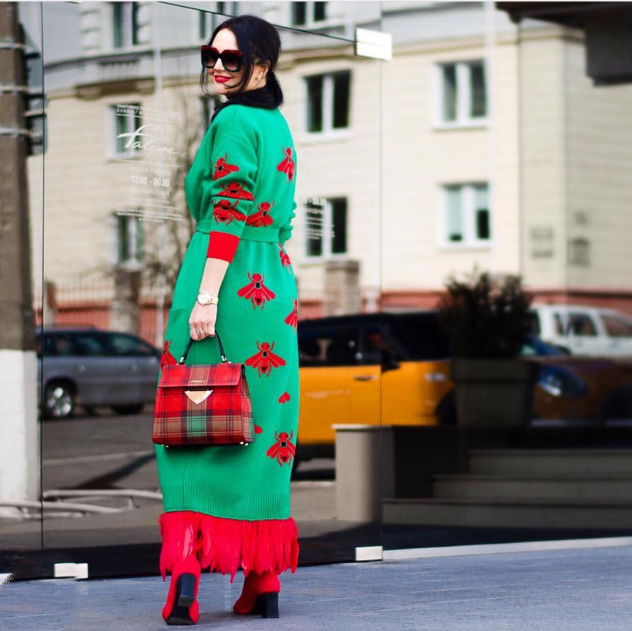 Green long insect cardigan