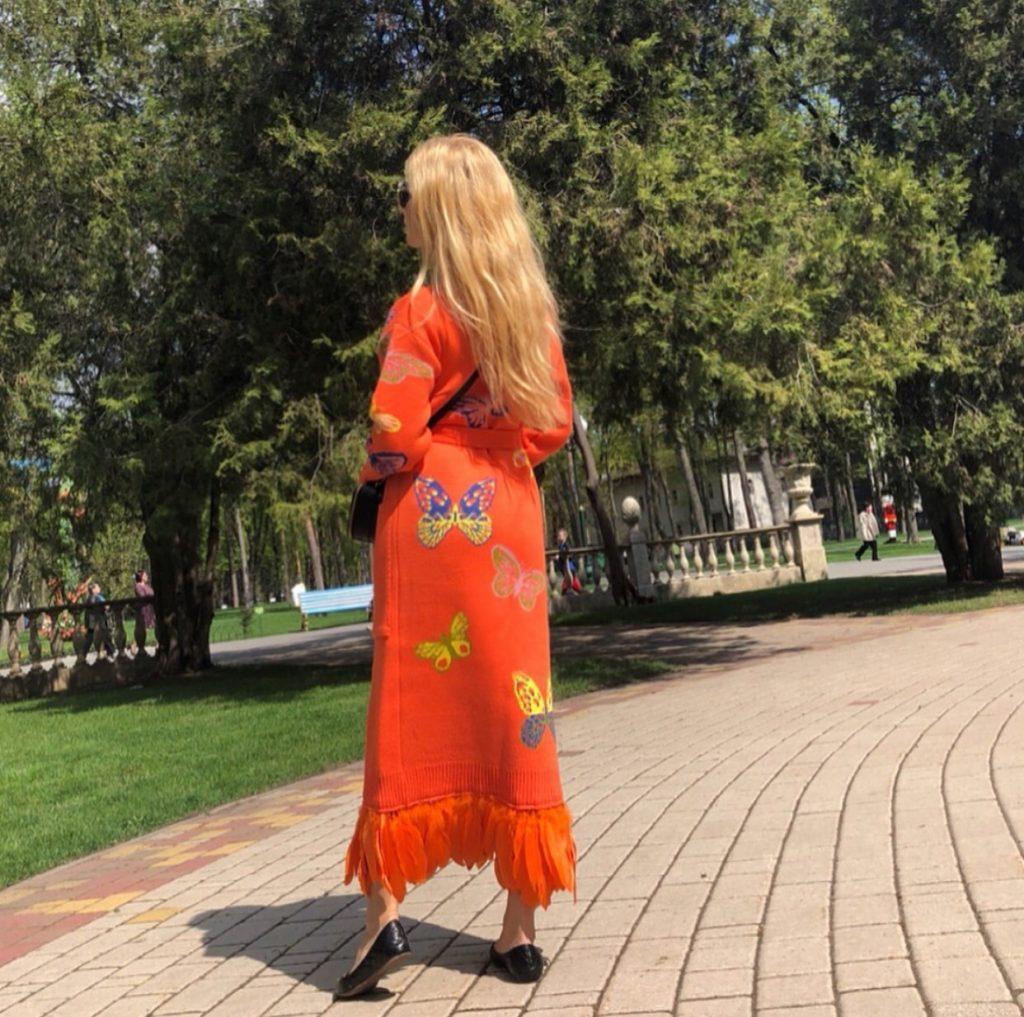 Long orange butterfly cardigan