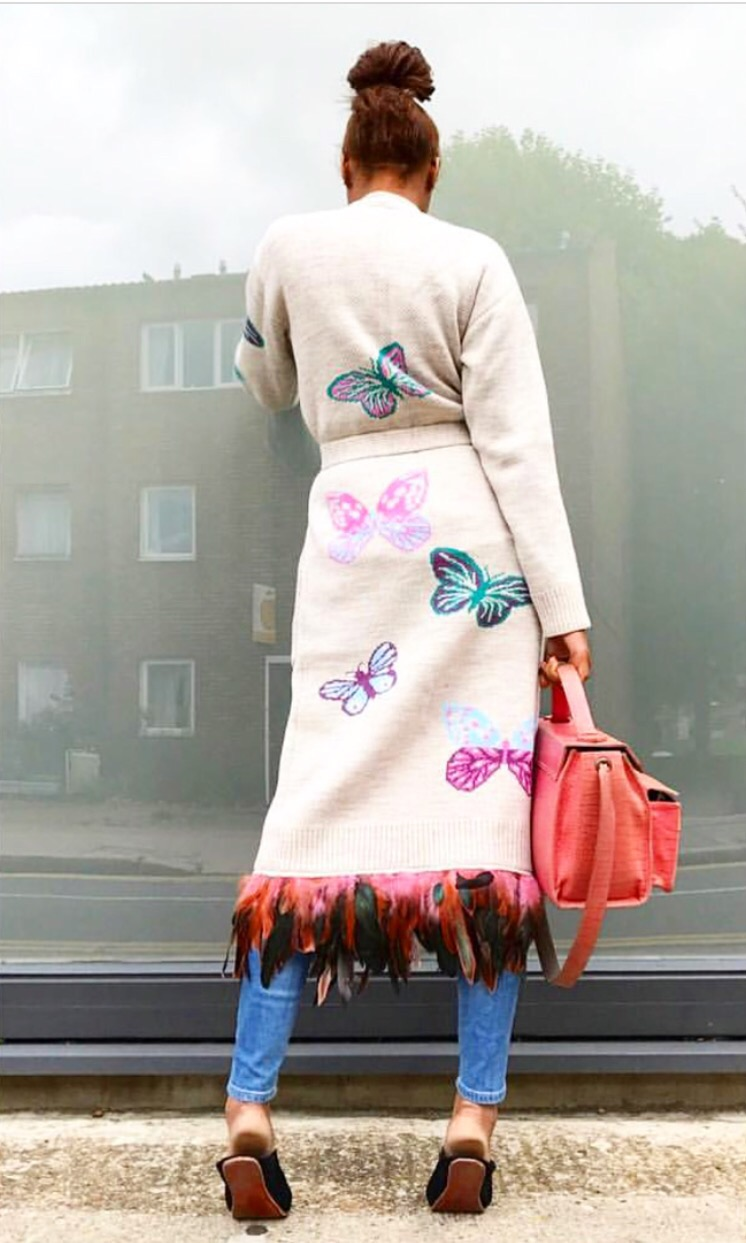 Long butterfly cream cardigan