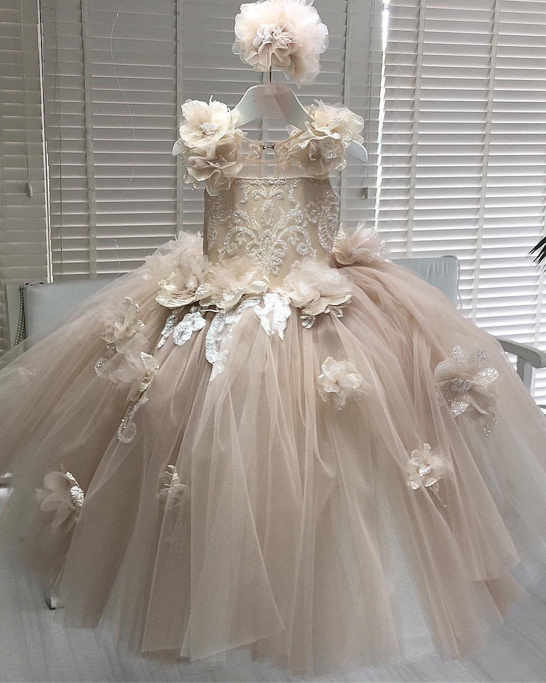 Extraordinary kids couture champagne flower dress
