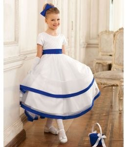 Blue and white classic flower girl dress