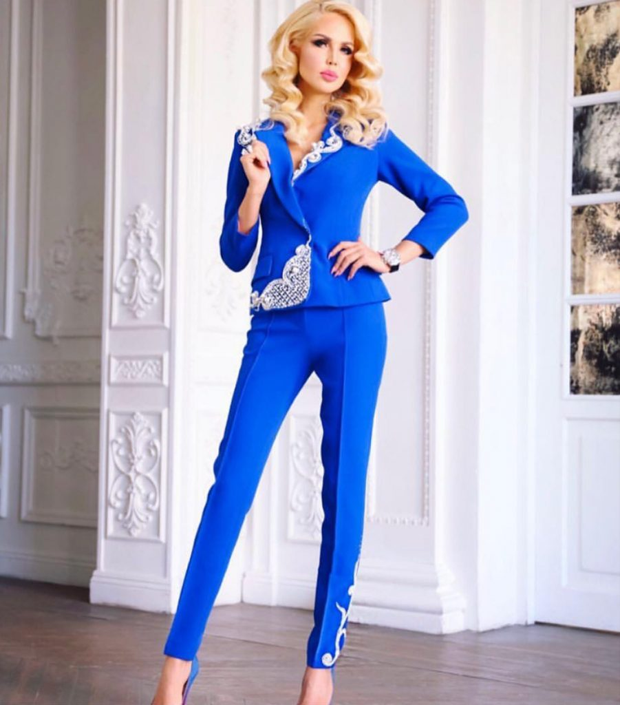 Blue embellished pant suit