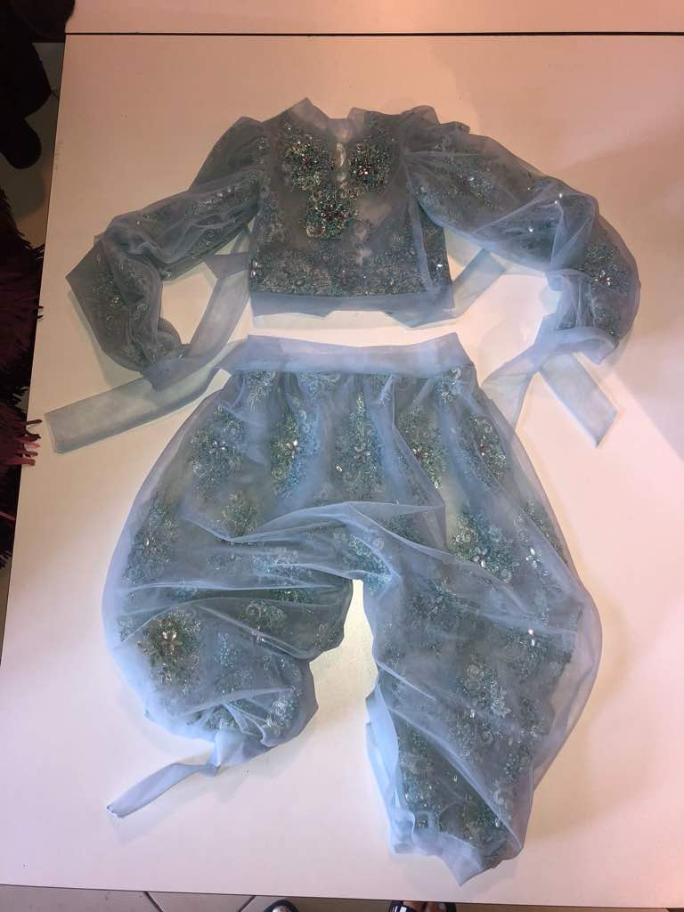Misty blue kids couture set