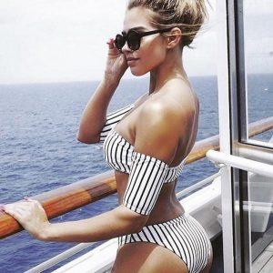 Striper Off shoulder bikini