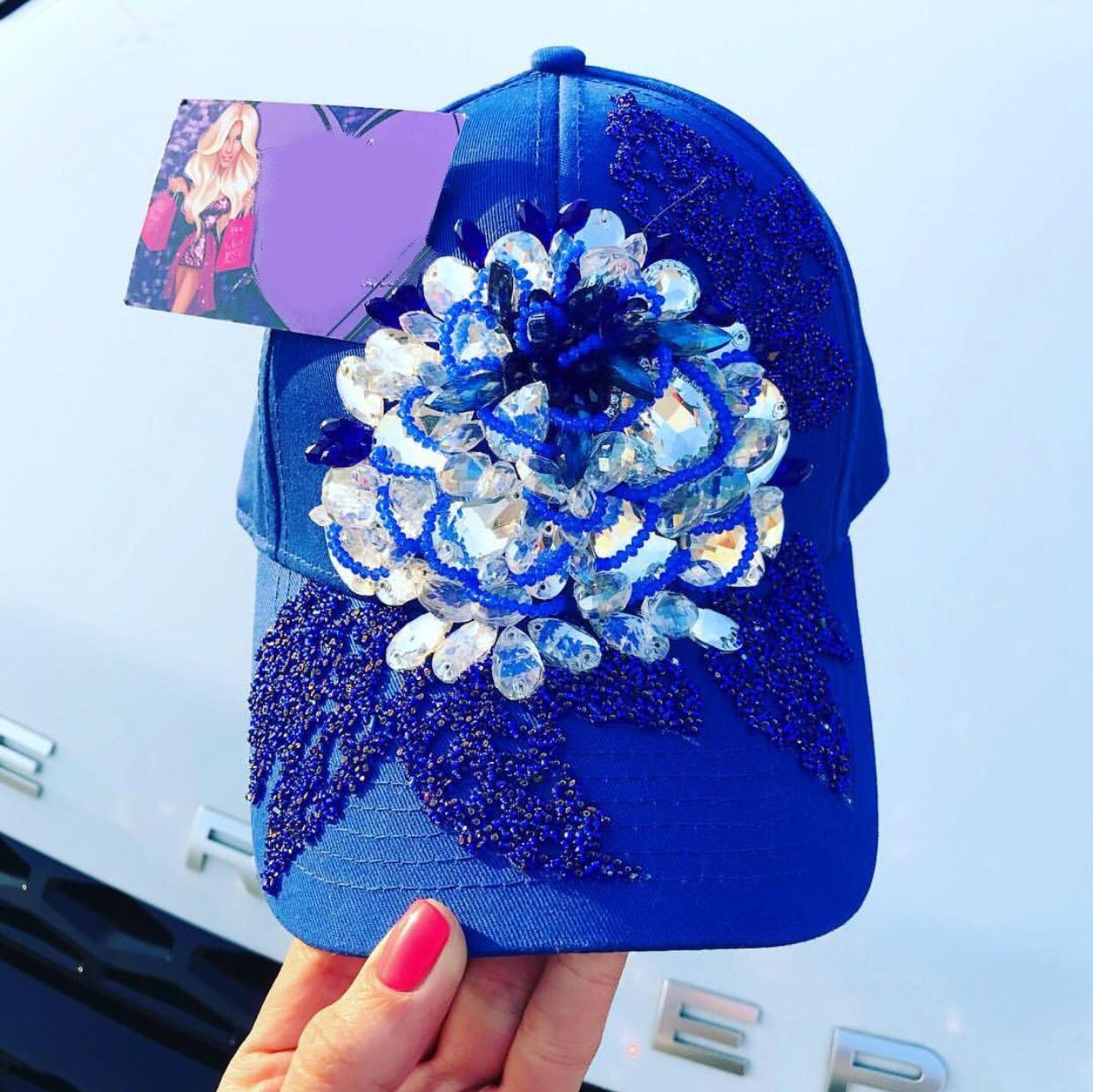 Blue embellished snapback