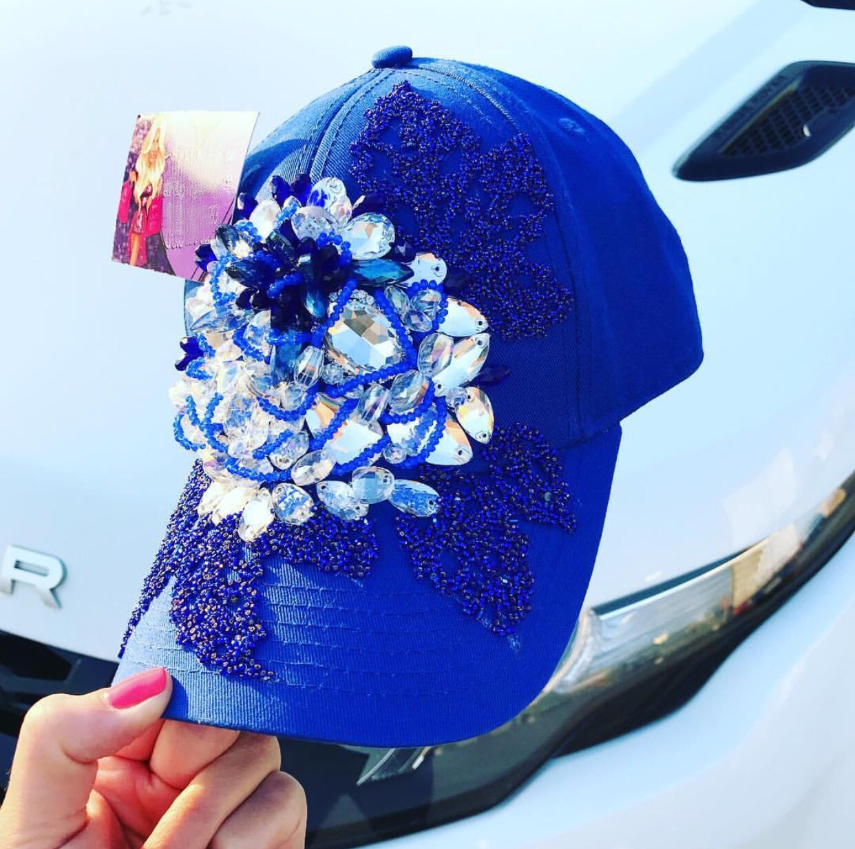 Blue embellished snapback