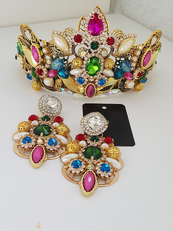 Rainbow crown and earring set
