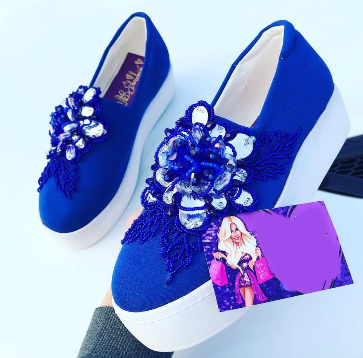 Blue crystal embellished loafers