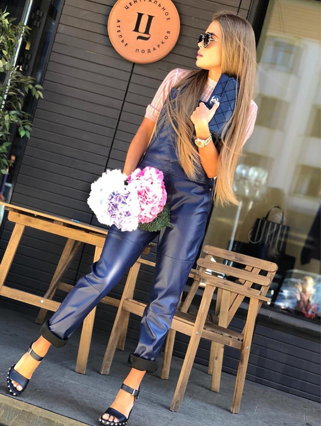 Luxury leather dungaree