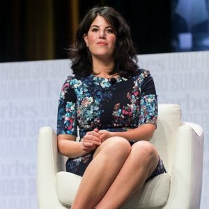 Monica Lewinsky abruptly huffs off stage over Clinton question