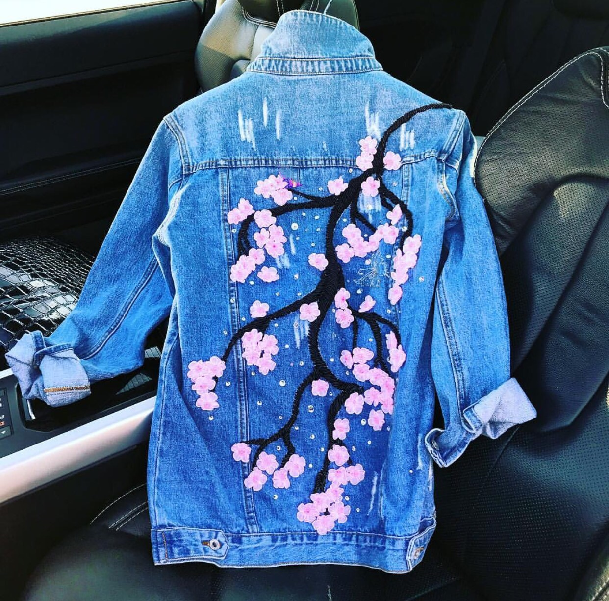 Dark blue denim floral embellished jacket