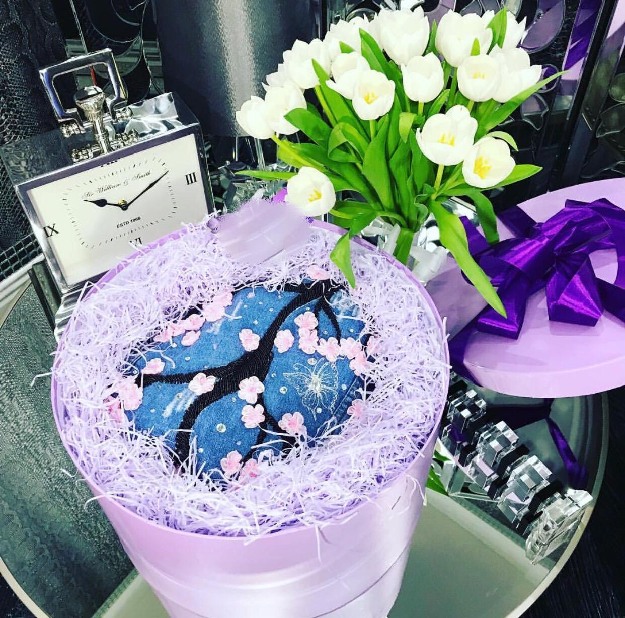 Dark blue denim floral embellished jacket