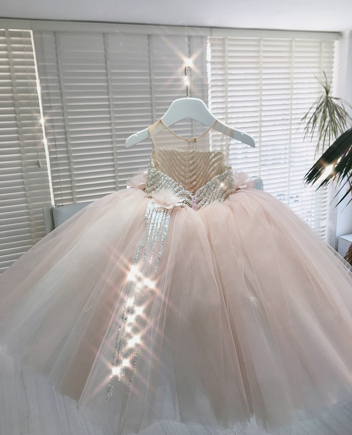 Powder Blush embellished kids couture gown