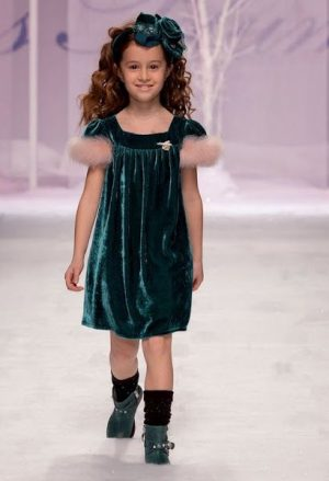 Green velvet fur kids couture dress