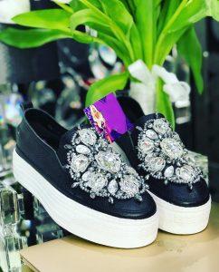 Black embellished loafers and denim jacket set