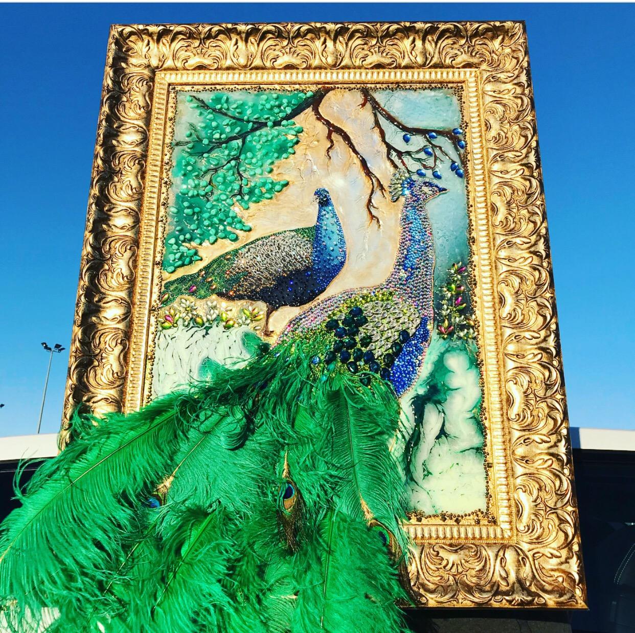 Embellished peacock art