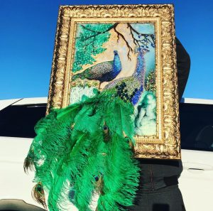 Embellished peacock art