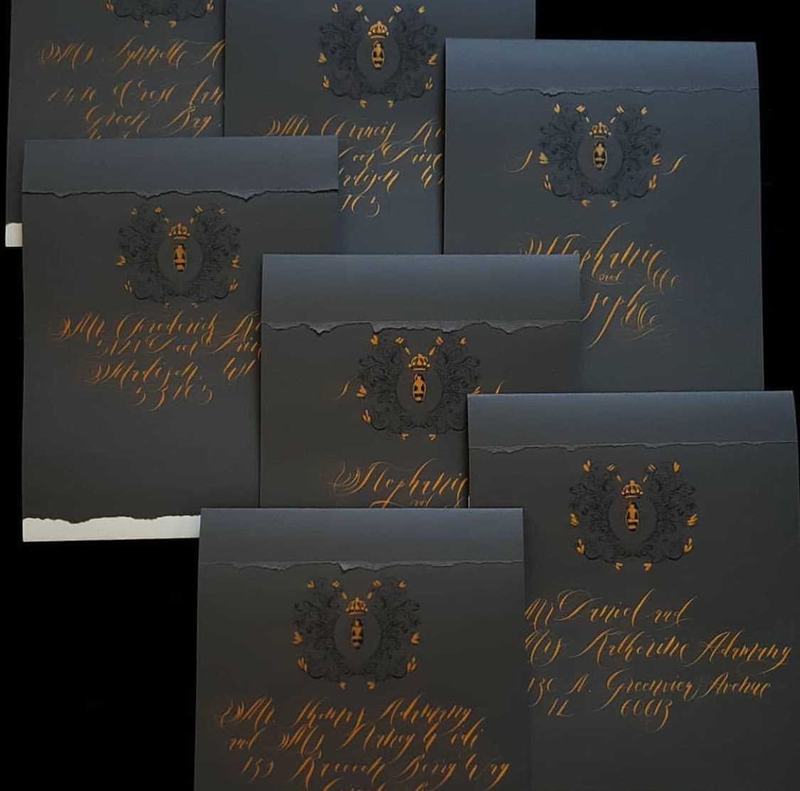 Luxury hand painted wedding invitation