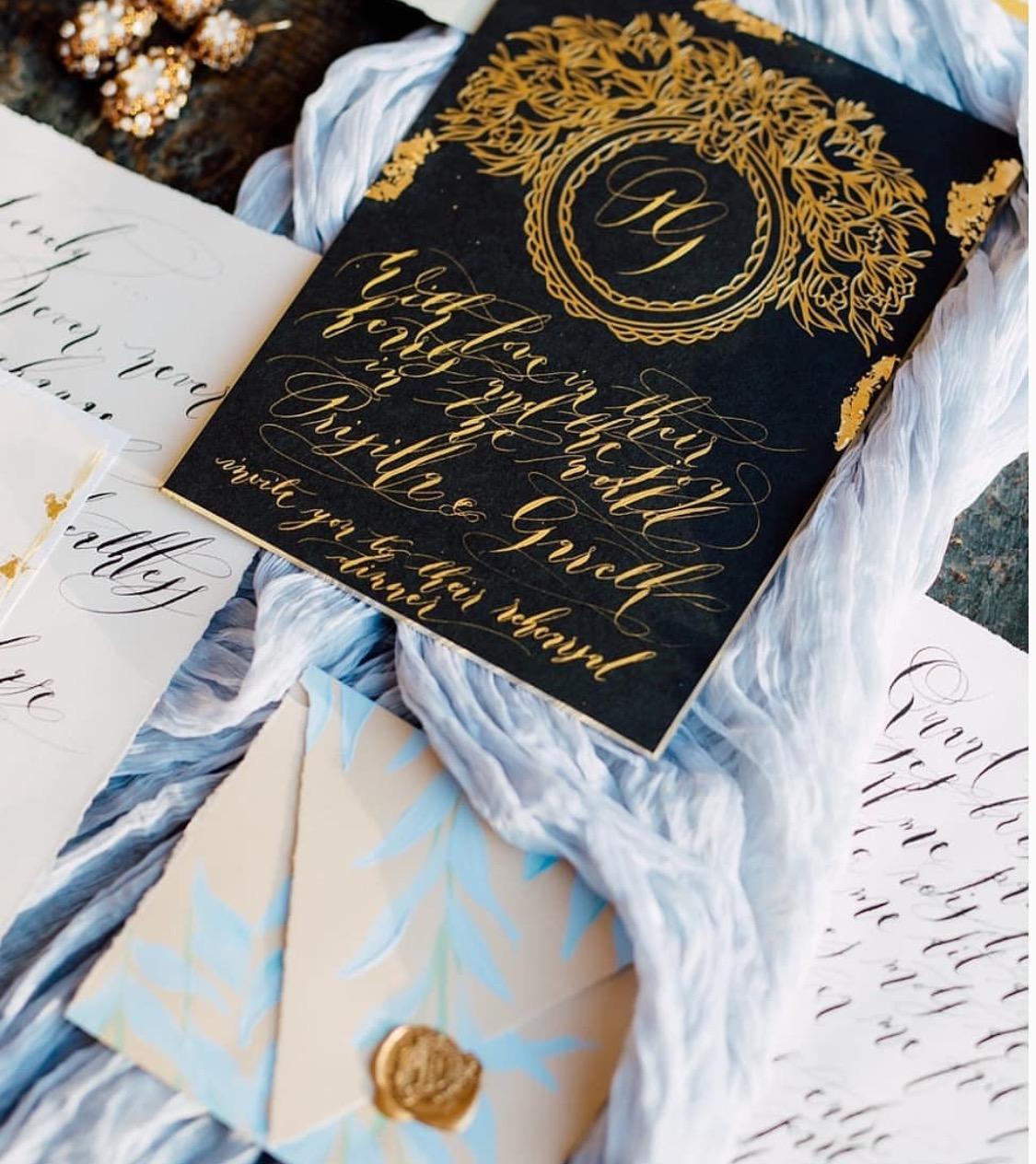 Luxury hand painted wedding invitation