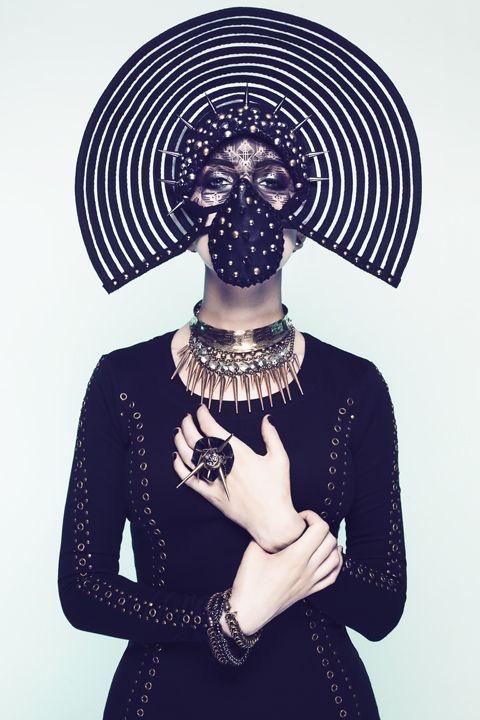 Custom black Gothic Headwear