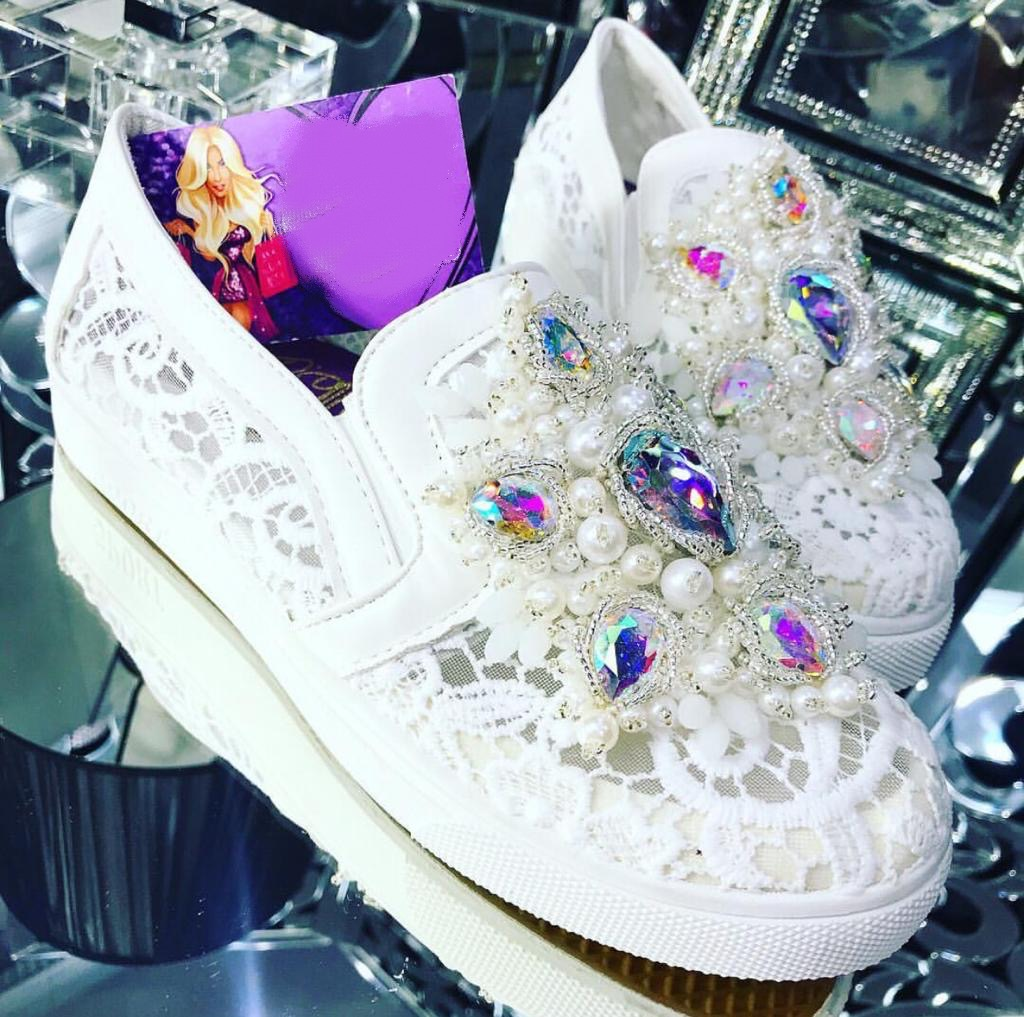 White lace embellished women's loafers