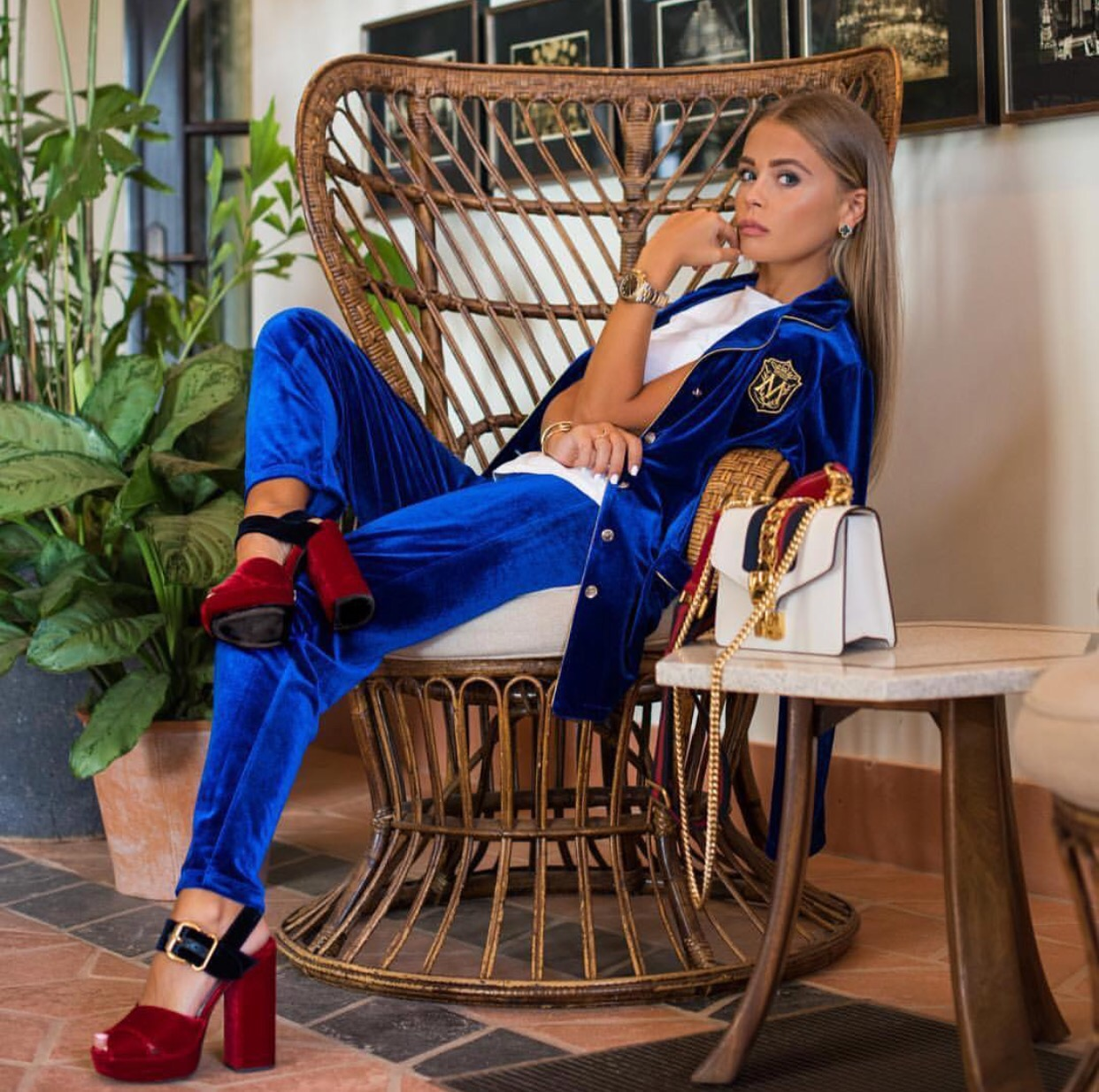 Blue velvet high fashion pajama set