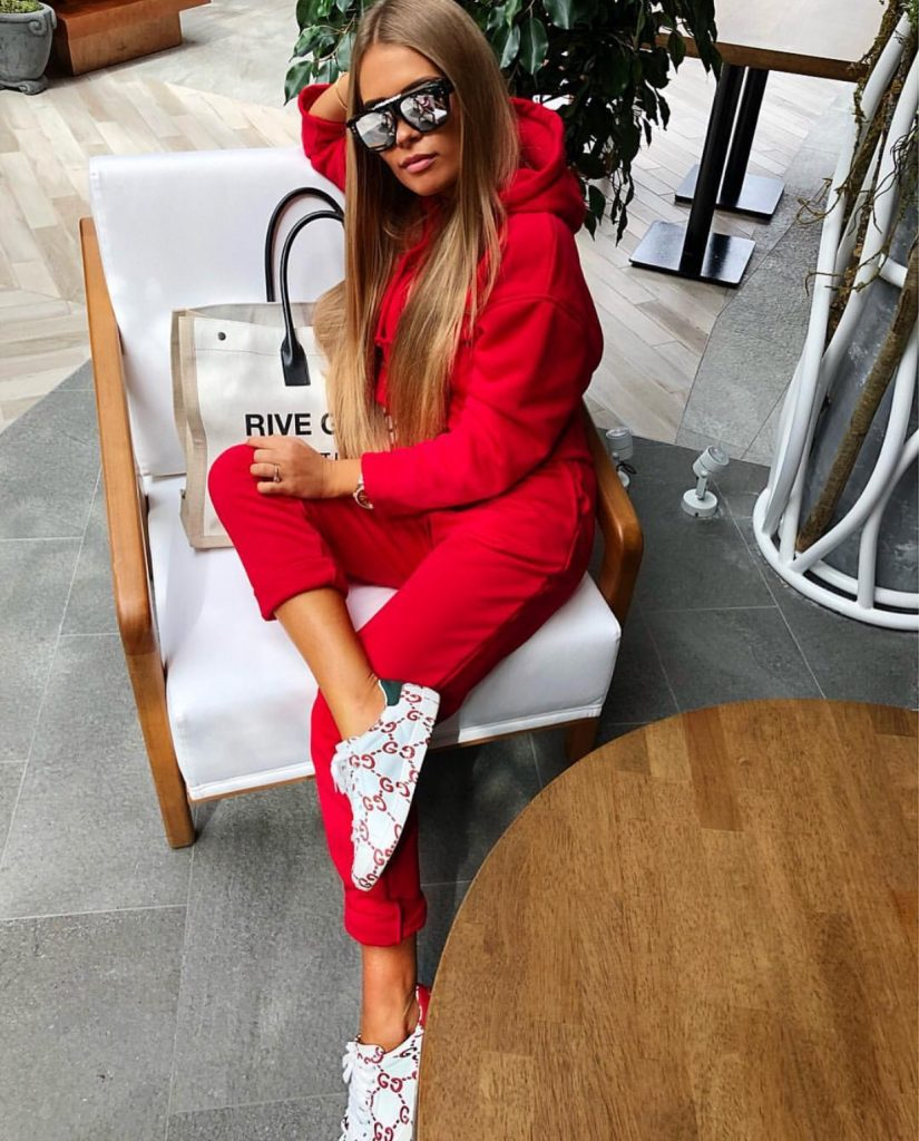 Red couture tracksuit
