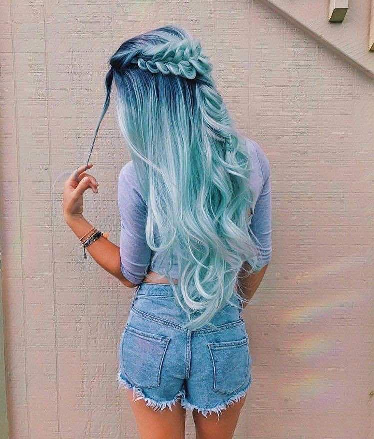Midnight blue luxury wig