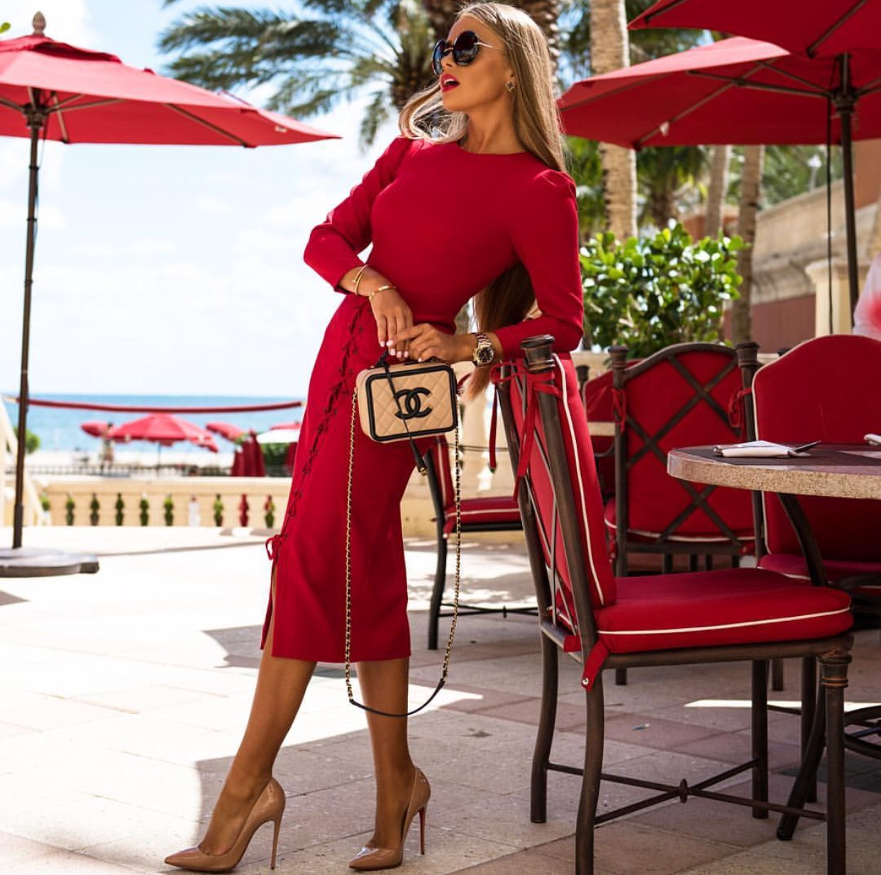 Red lace up dress