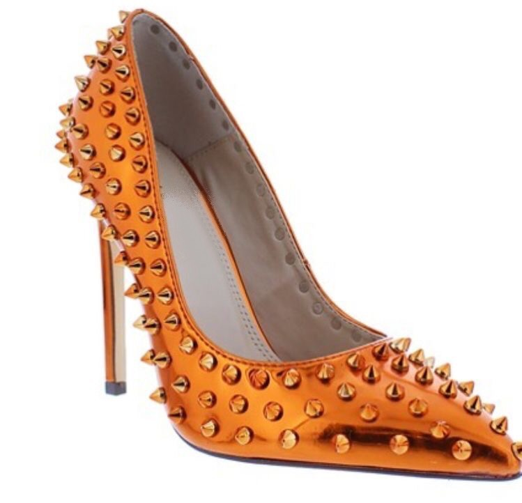 Studded bronze couture shoes