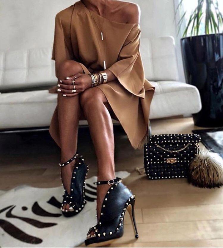 Studded peep toe women's shoes