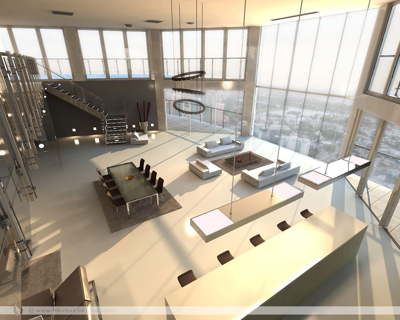 Open plan penthouse design layout