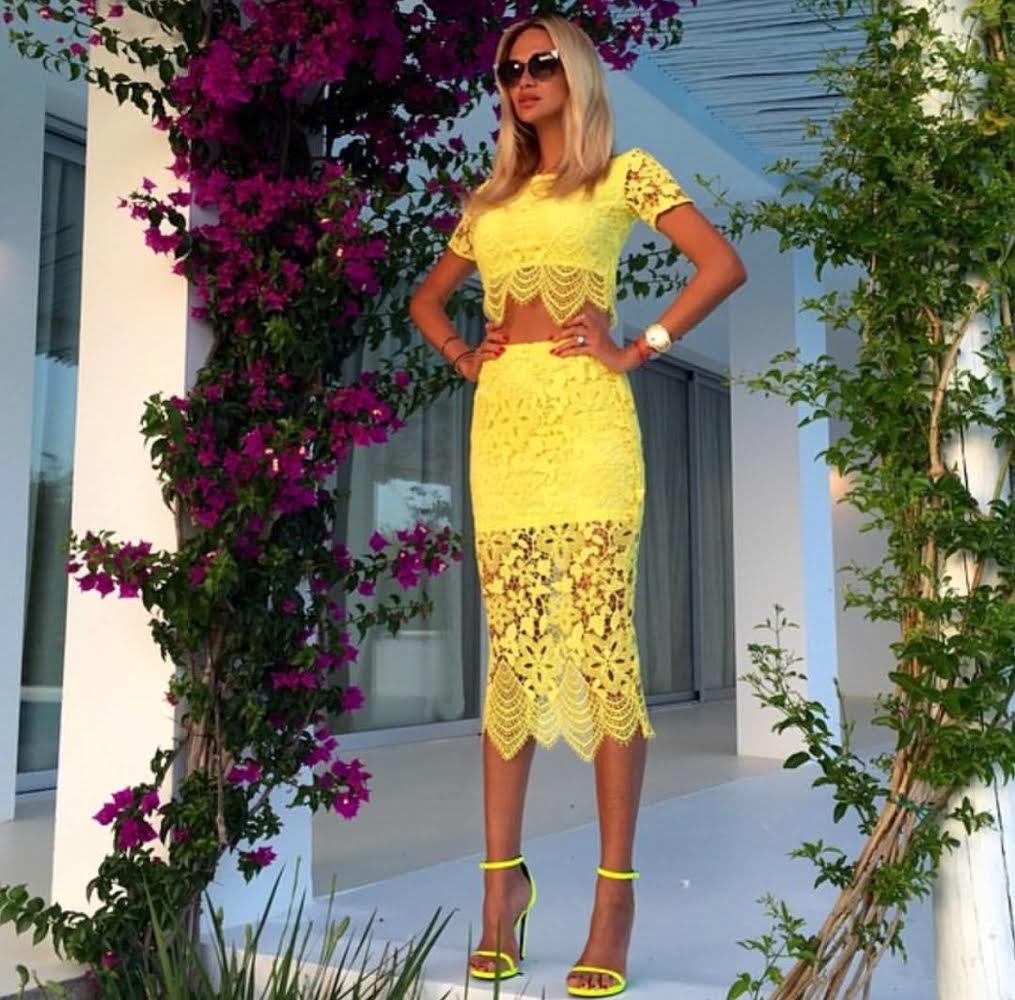 Yellow lace fashion set